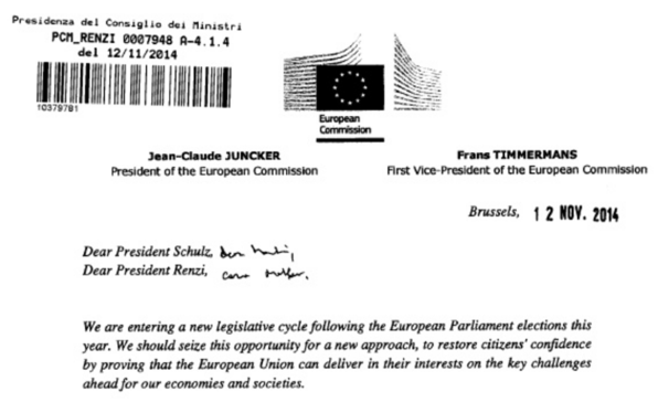 Fonte: http://economia.ilmessaggero.it/economia_e_finanza/lettera_juncker_renzi_pdf/1015091.shtml